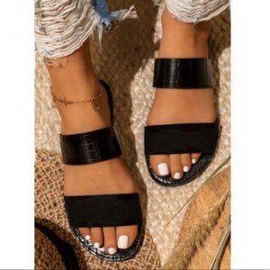 Double Strap Croc & Faux Suede Sandals in Black